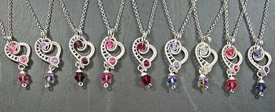 Heather Jordan Jewelry - Bleeding Heart Silver And Swarovski Crystal Pendant by Heather Jordan