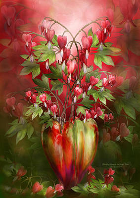 Red Flowers Mixed Media - Bleeding Hearts In Heart Vase by Carol Cavalaris