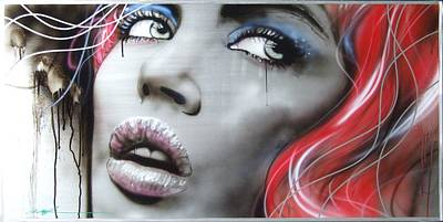 Faces Painting - Portrait - ' Bleeding Rose ' by Christian Chapman Art