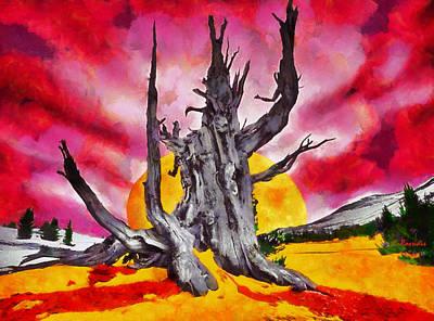 Surreal Painting - Bleeding Tree by George Rossidis
