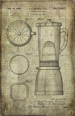 Blender Patent Art Print by Caffrey Fielding