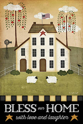 School Houses Painting - Bless Our Home by Jennifer Pugh