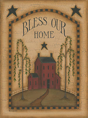 Inspirational Painting - Bless Our Home by Kim Lewis