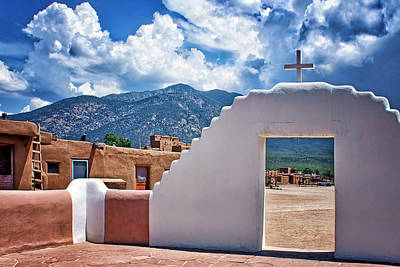 Native American Style Photograph - Bless Our Homes - Taos Pueblo by Nikolyn McDonald