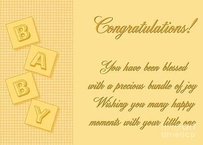 Digital Art - Blessed Baby Blocks by JH Designs
