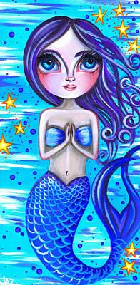 Pop Surrealism Painting - Blessed Mermaid by Jaz Higgins