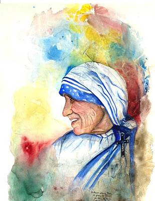 Mother Teresa Painting - Blessed Mother Teresa by Laura LaHaye