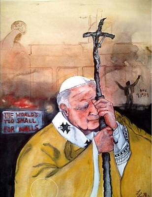 Jpii Painting - Blessed Pope John Paul II And Collapse Of Berlin Wall by Laura LaHaye