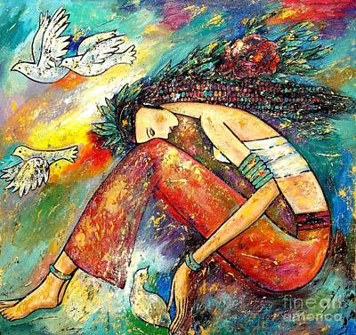 Peace Doves Painting - Blessed Seasons I by Shijun Munns