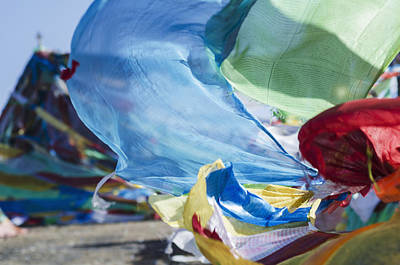 Fluttering Photograph - Blessing Colourful Tibetan Prayer Flags by Sergey Orlov