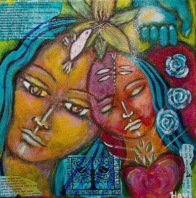 Rose. Collage Painting - Blessing by Havi Mandell