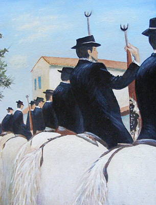 Blessing Of Cavaliers And Horses At Ste. Marie De La Mer In Camargue Original by Barbara Jacquin