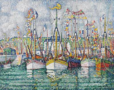 Pointillist Painting - Blessing Of The Tuna Fleet At Groix by Paul Signac