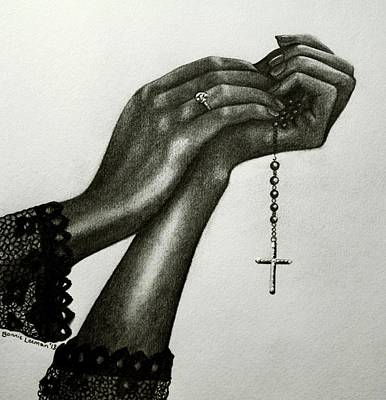 Crucifix Art Drawing - Blessings by Bonnie Leeman