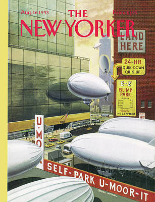 Nyc Painting - Blimp Park by Bruce McCall