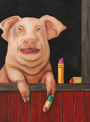 Swine Painting - Blind Date by Leah Saulnier The Painting Maniac