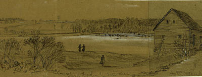 Chinese American Drawing - Blind Ford & Scotts Mill, 1863 Ca. May 5 by Quint Lox