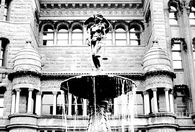 Digital Art - Blind Naked Justice Statue Bexar County Courthouse San Antonio Texas Black And White Conte Crayon by Shawn O'Brien