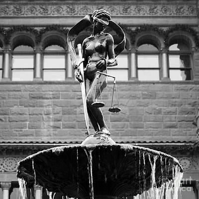 Photograph - Blind Naked Justice Statue Bexar County Courthouse San Antonio Texas Square Format Black And White by Shawn O'Brien