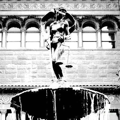 Digital Art - Blind Naked Justice Statue Bexar County Courthouse San Antonio Texas Square Format Bw Conte Crayon by Shawn O'Brien
