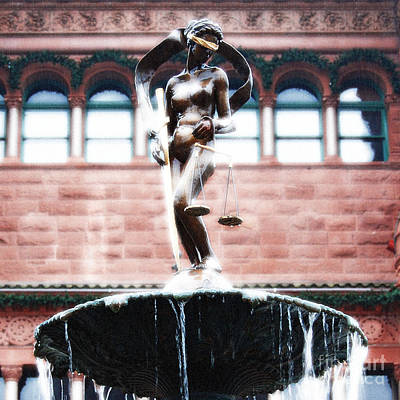 Digital Art - Blind Naked Justice Statue Bexar County Courthouse San Antonio Texas Square Format Diffuse Glow by Shawn O'Brien