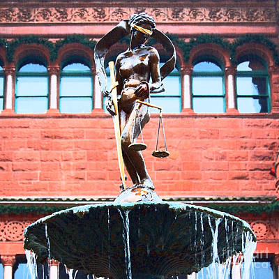 Digital Art - Blind Naked Justice Statue Bexar County Courthouse San Antonio Texas Square Format Film Grain by Shawn O'Brien