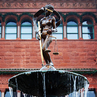 Photograph - Blind Naked Justice Statue Bexar County Courthouse San Antonio Texas Square Format by Shawn O'Brien