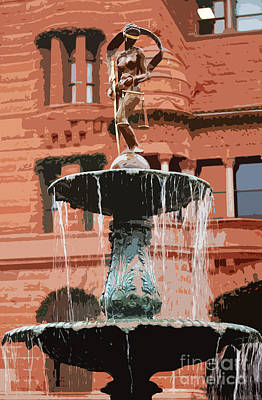 Digital Art - Blind Naked Justice Statue With Scales Atop Fountain San Antonio Texas Cutout Digital Art by Shawn O'Brien