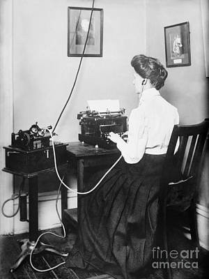 Dictaphones Photograph - Blind Stenographer Using Dictaphone, 1911 by Library Of Congress