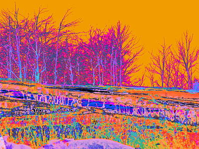 Surrealism Royalty-Free and Rights-Managed Images - Blinn Hill Tree line Yellow Sky by Priscilla Batzell Expressionist Art Studio