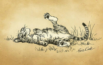 Cat Digital Art - Bliss In The Grass by Evie Cook