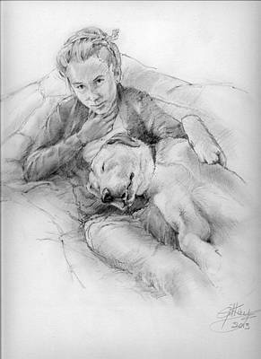 Girl And Dog Drawing - Blissed Out by Gill Kaye
