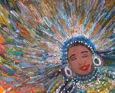 Mardi Gras Painting - Blissful Babe With Feathers by Anne-Elizabeth Whiteway
