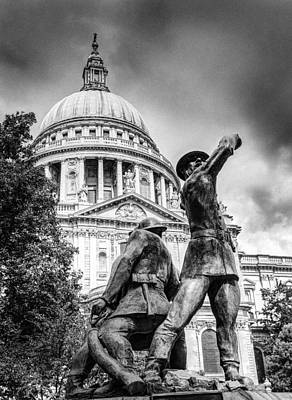 Photograph - Blitz Firefighters Memorial Grainy Black And White Version by Gary Eason