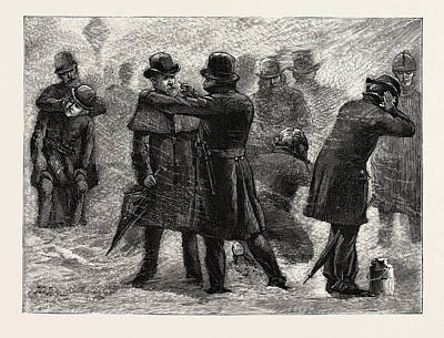 Rubbing Drawing - Blizzard In New York, A Policeman Rubbing Snow by American School