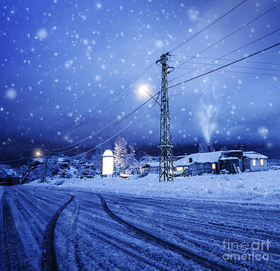 Snowy Night Photograph - Blizzard In The Village by Anna Om