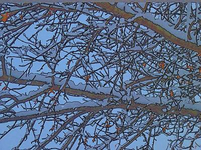 Digital Art - Blizzard Oak Tree Abstract-5 by Doug Morgan