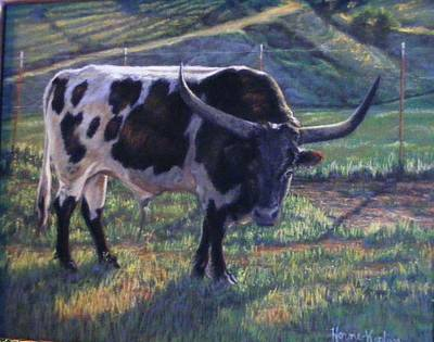 Pastel - Blk And White Longhorn Steer by Denise Horne-Kaplan