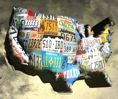 Maine Roads Digital Art - Bloated License Plates Of The Usa by Brian Reaves
