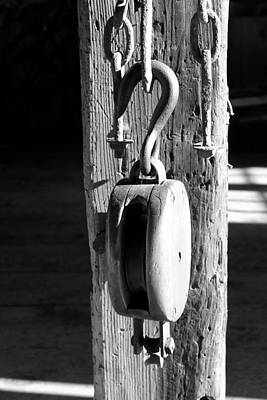 Block And Tackle 3 Bw Art Print by Mary Bedy