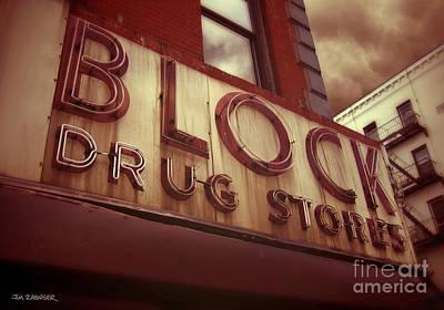 East Village Digital Art - Block Drug Store - New York by Jim Zahniser
