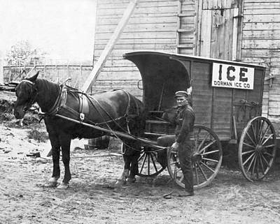 Wagon Photograph - Block Ice Delivery Wagon by Underwood Archives