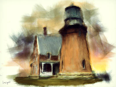 Block Island Light Art Print by Lourry Legarde