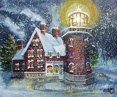 Block Island Lighthouse In Winter Art Print