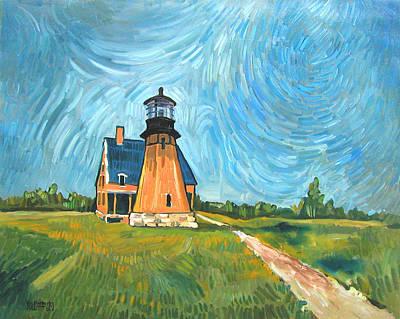 New England Lighthouse Painting - Block Island Lighthouse by Robert Holewinski