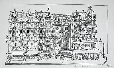 Block Of Restaurants In The Haussmann Art Print