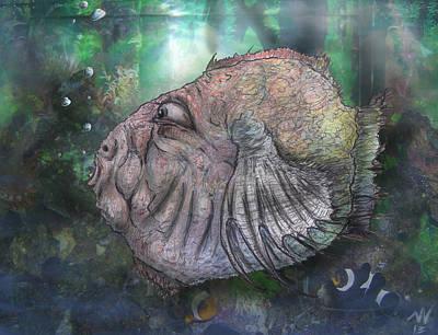 Puffer Fish Mixed Media - Blofish by Nicholas Vermes