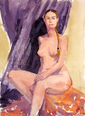 Painting - Blond Braided Nude by Mark Lunde