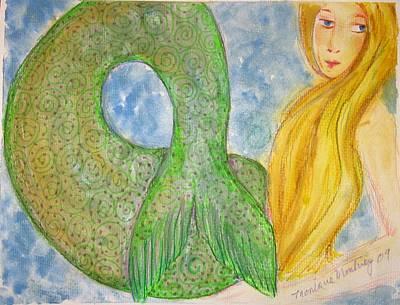 Painting - Blonde Blue Eye Mermaid by Monique Montney
