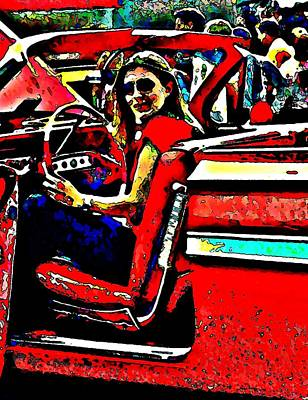 Photograph - Blonde In Red Convertible by Stanley  Funk